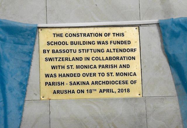 Hilfswerk Bassotu - Sakina Gedenktafel